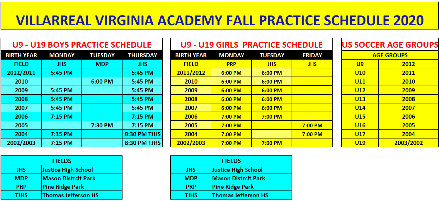 FALL 2020 PRACTICE SCHEDULE